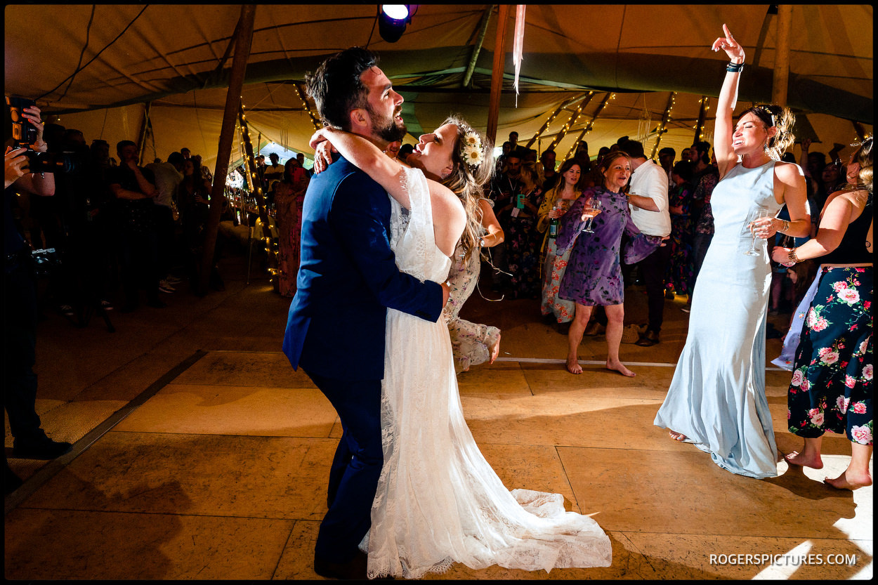 First dance at a Tipi wedding in Bucks