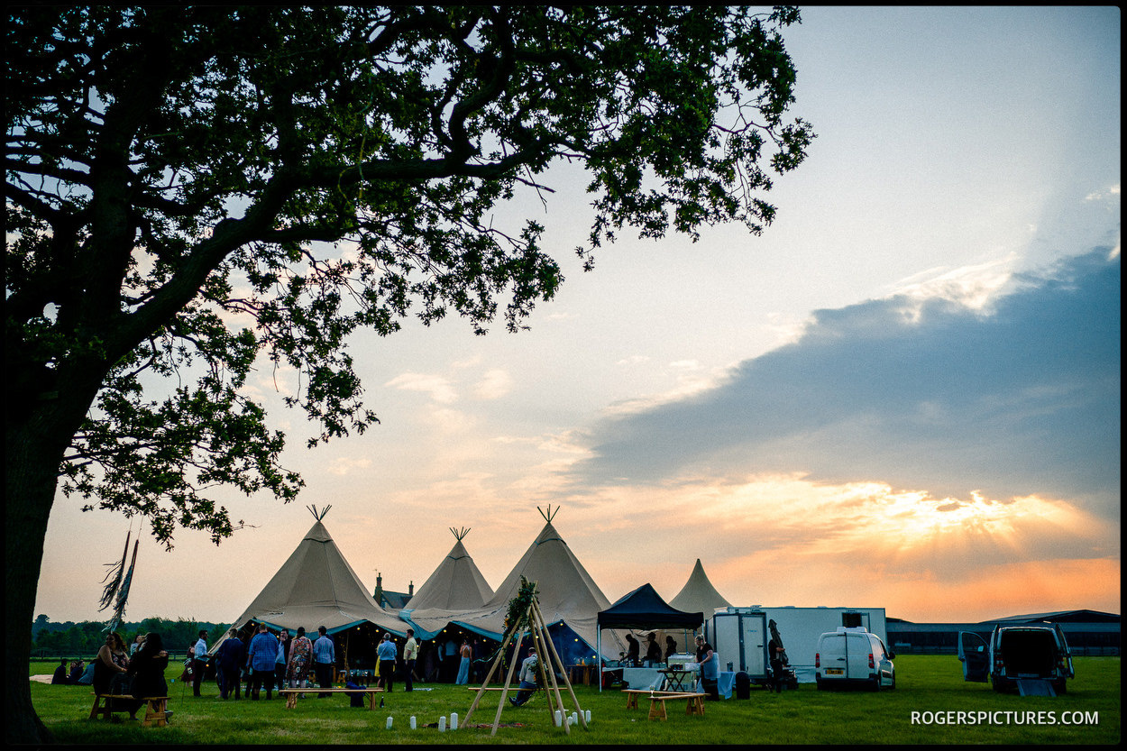 Sunset at a Tipi wedding in Buckinghamshire