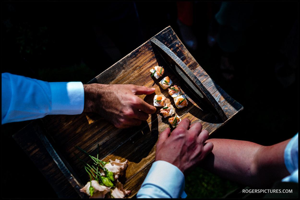 Canapés at a garden wedding