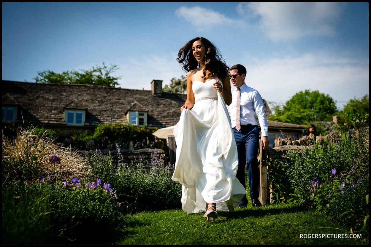 Newly married couple at a wedding reception in the English countryside