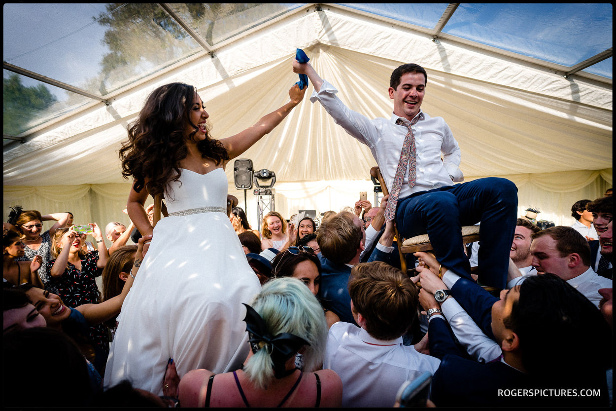 The Hora at a marquee wedding in Oxfordshire