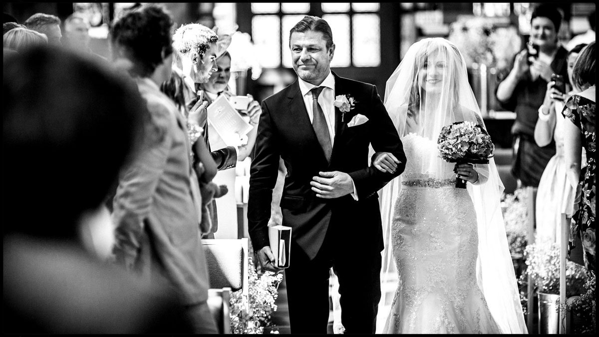 Sean Bean walking his daughter down the aisle at her wedding in London