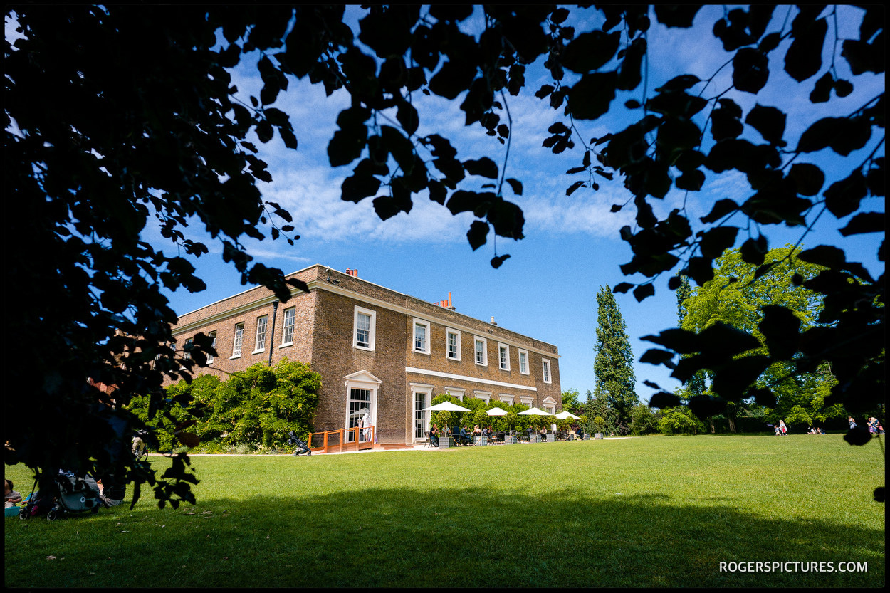 Exterior of Fulham Palace before a Summer wedding