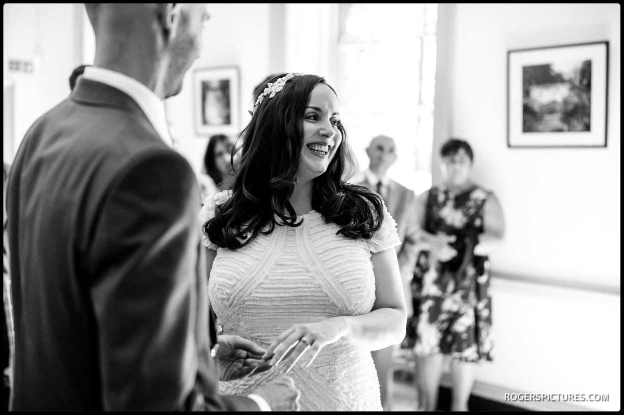 Black and white picture during London wedding ceremony