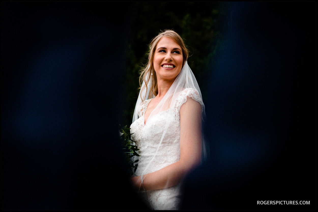 Portrait of a bride after her wedding in Kent