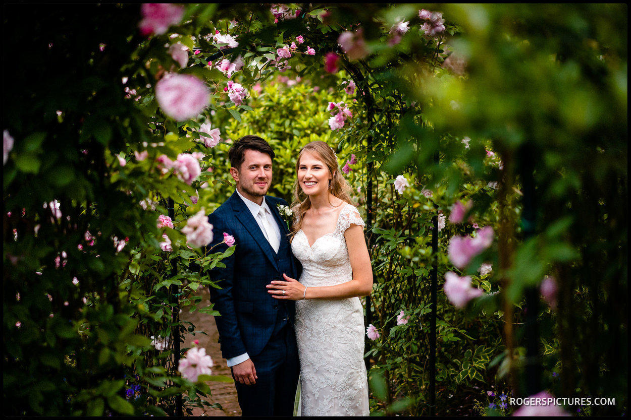 Bride and groom portrait at Boughton Monchelsea Place