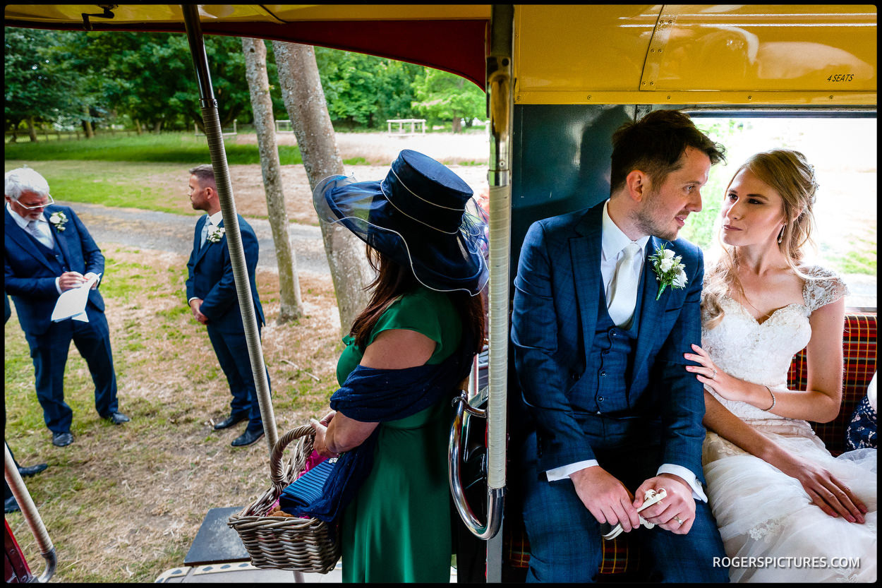 Newly weds on a bus going to Leeds Castle