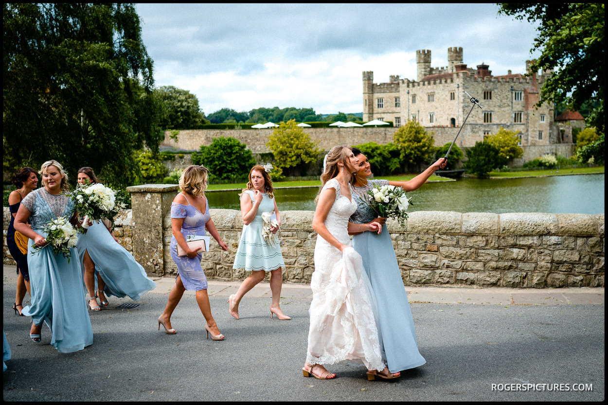 Bridal party outside Leeds Castle