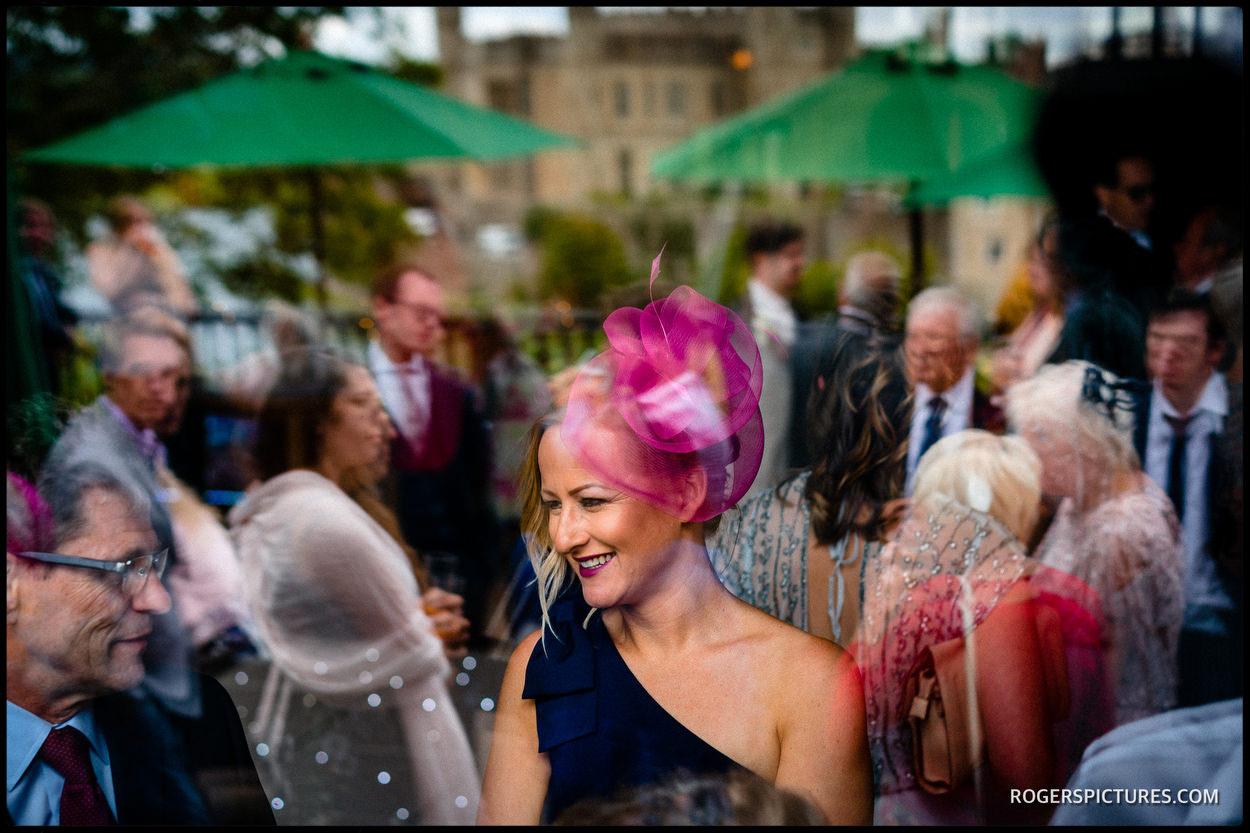 Leeds Castle wedding guests in the Fairfax Barn