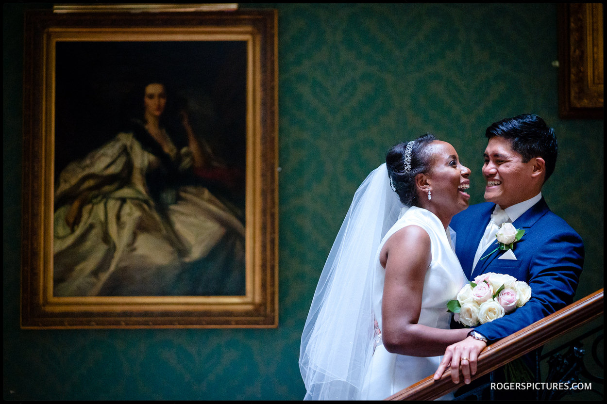 Bride and groom portrait at Addington Palace