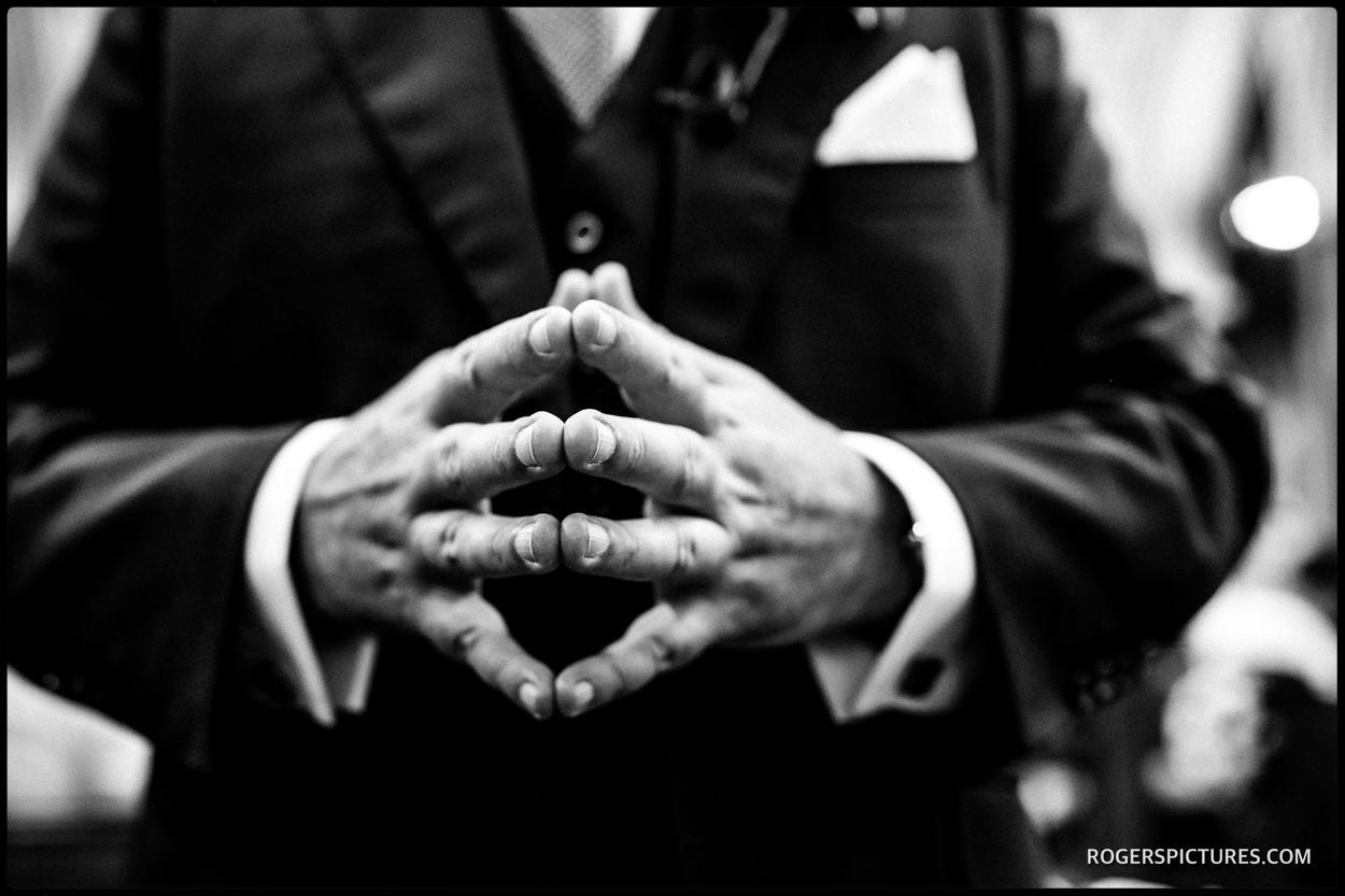 Nervous grooms hands