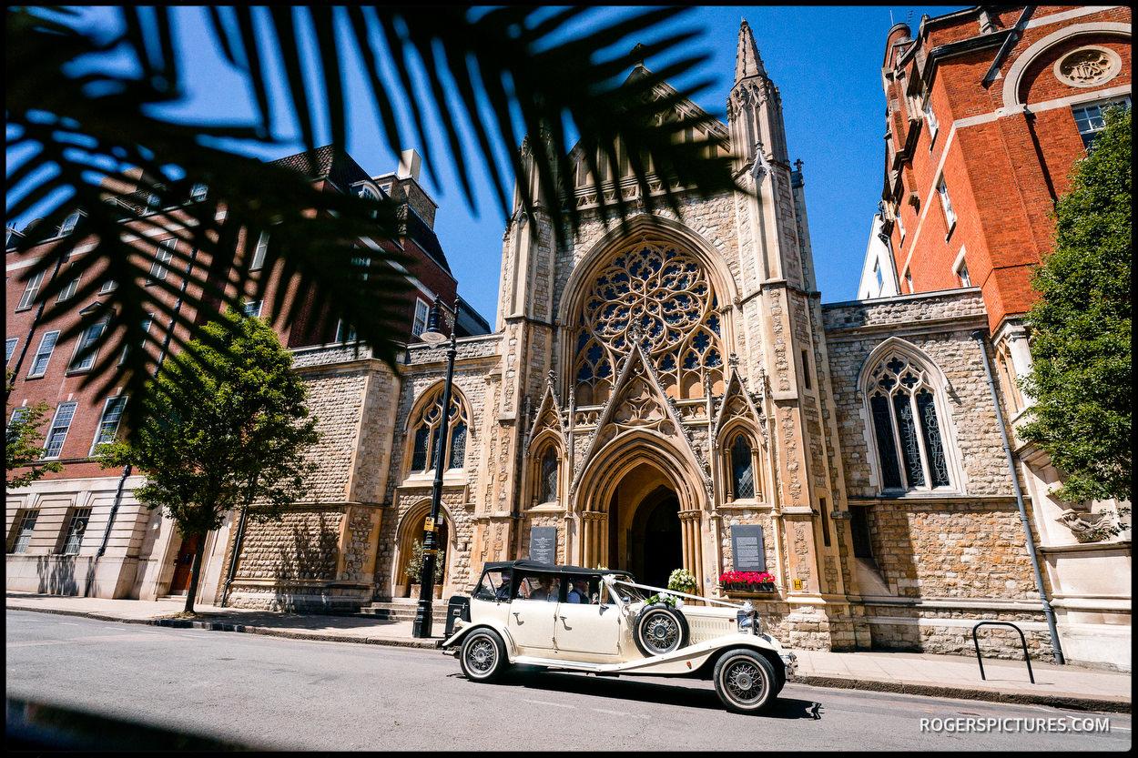 Wedding car outside Farm Street Catholic church
