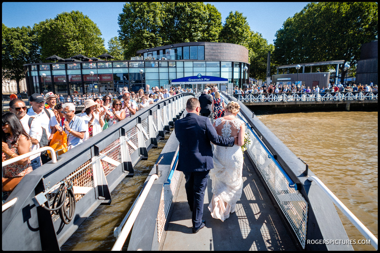 Newly wed couple at Greenwich Pier