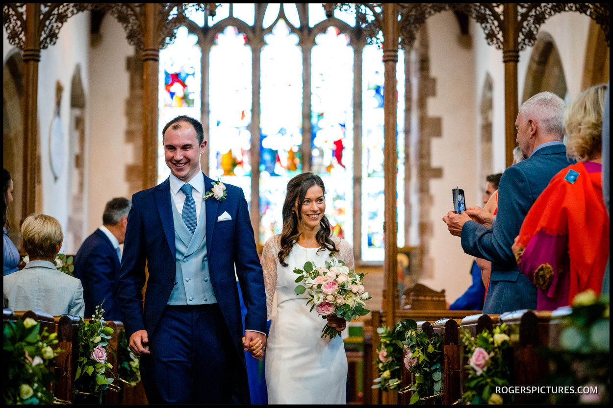 Newly married couple in Ticehurst wedding