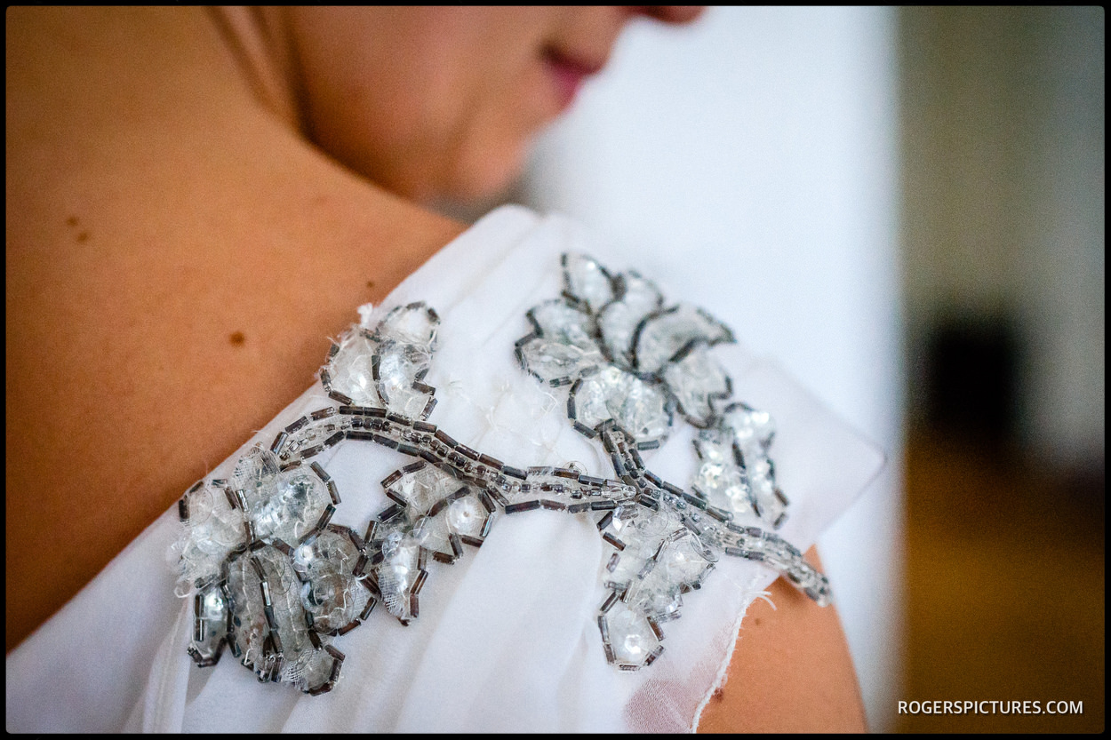 Detail from a vintage wedding dress