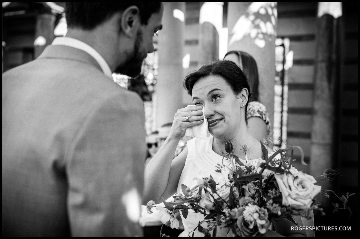 Emotional bride at Hampstead Pergola and Hill Gardens