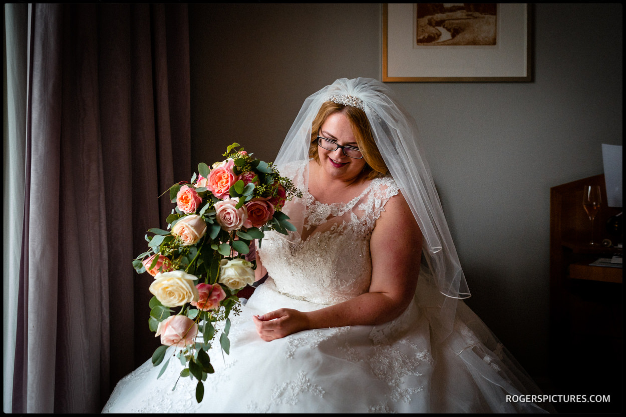 Bride and bouquet portrait