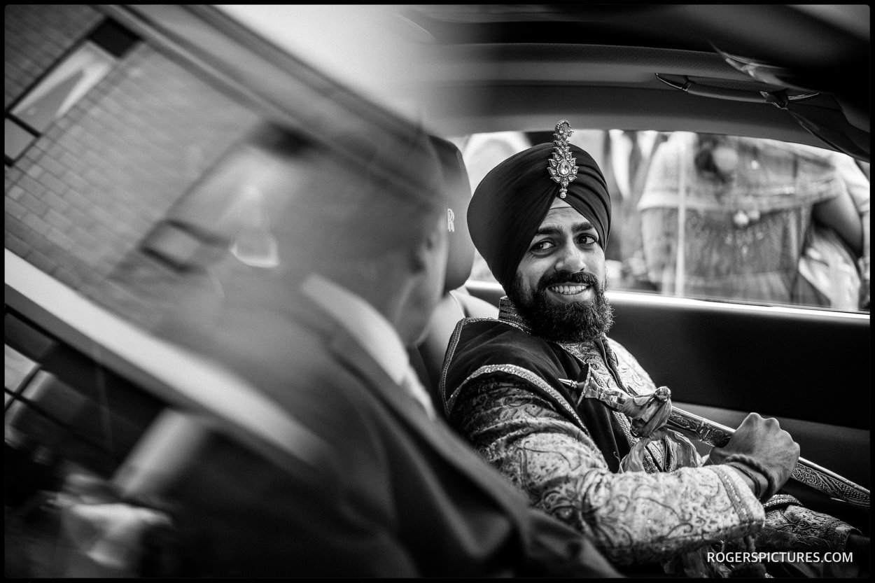 Groom arriving for a Sikh wedding ceremony