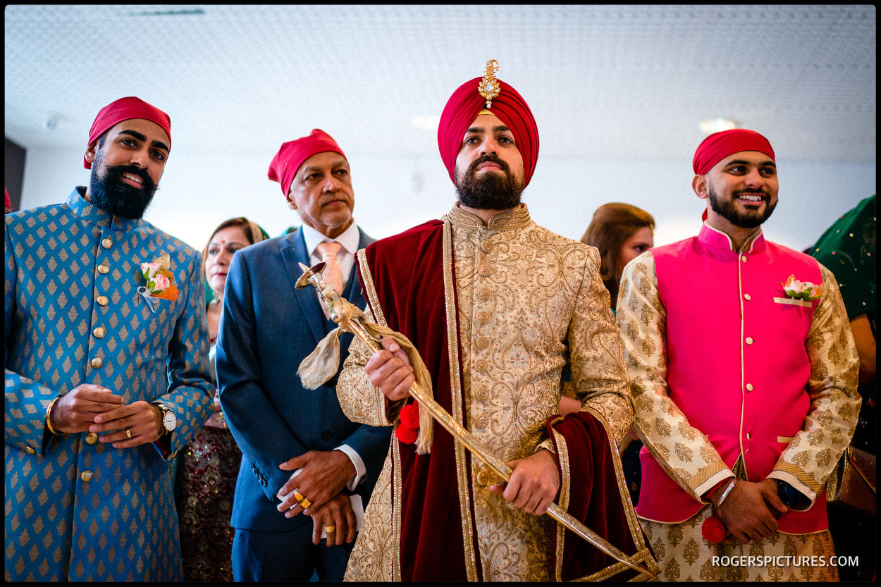 Groom arrives at an Indian wedding
