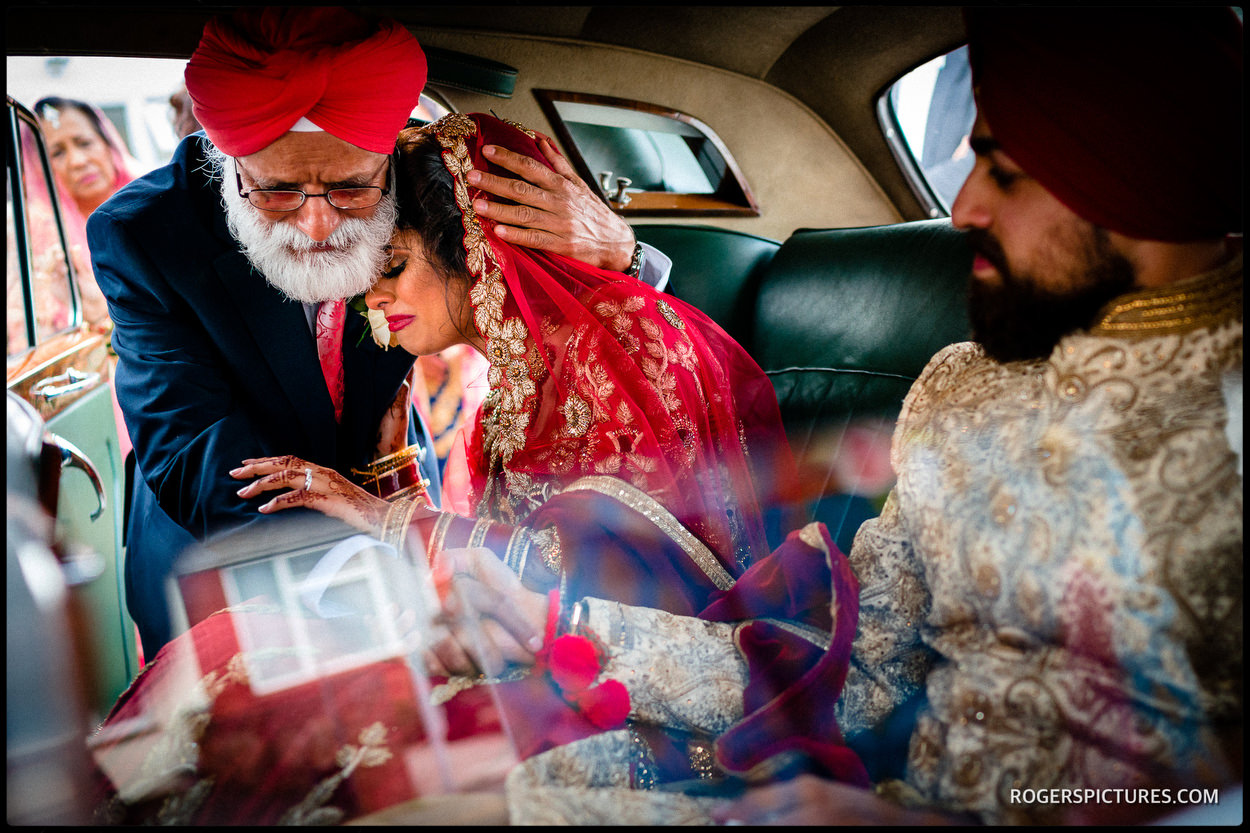 Bride and father at Indian wedding