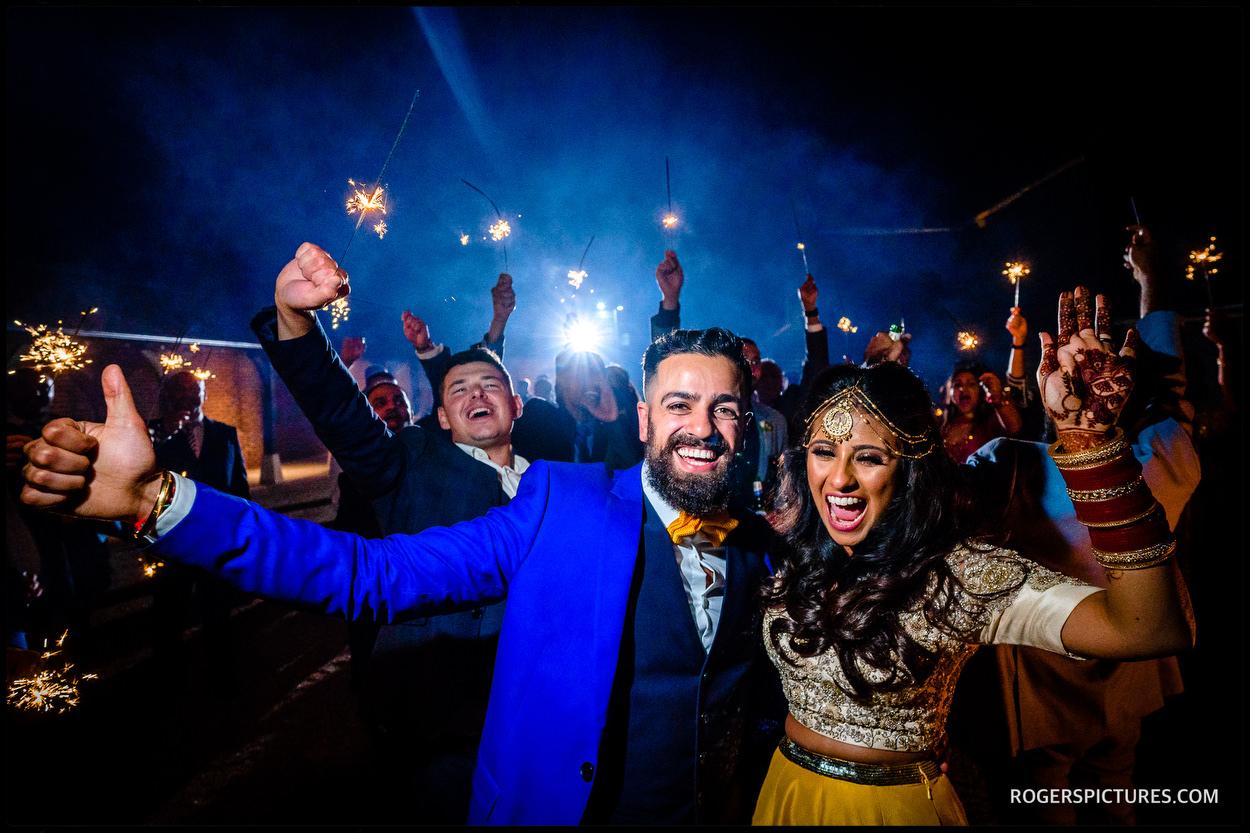 Sparkler send off at Micklefield Hall after a wedding