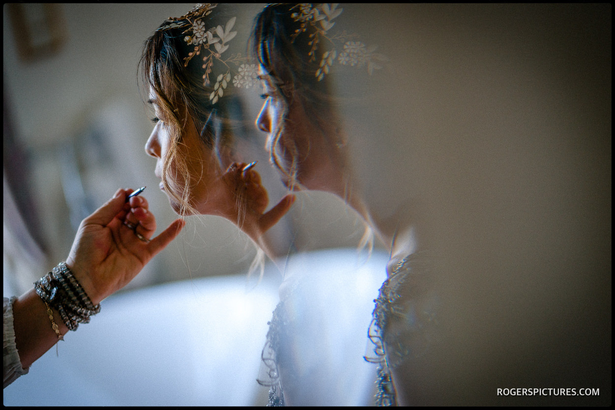 Brides reflection at Old Hall Ely