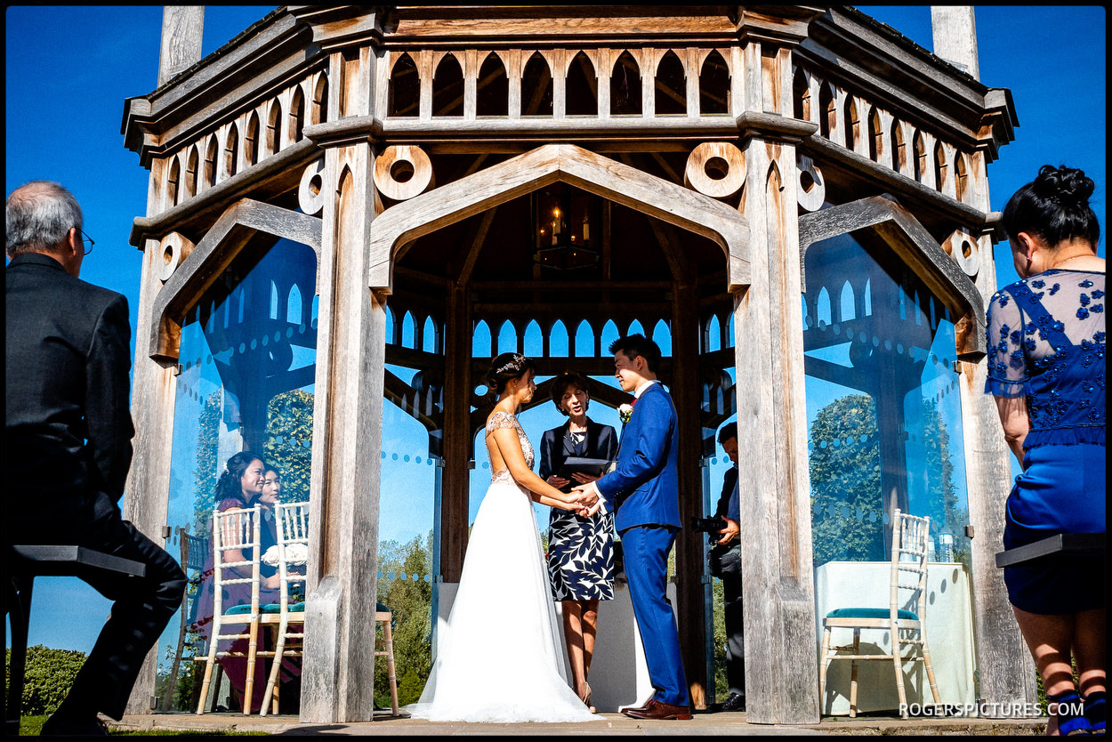 Old Hall Ely wedding ceremony in the Garden Pavilion