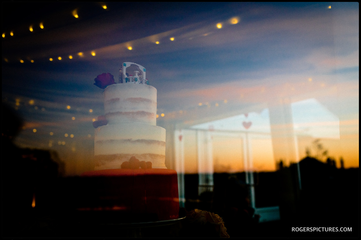 Sunset and wedding cake
