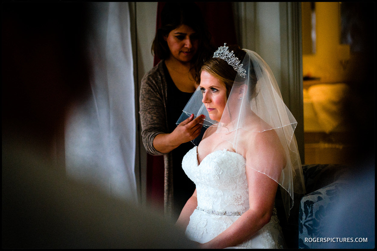 Bride at Stoke Place Hotel in Buckinghamshire