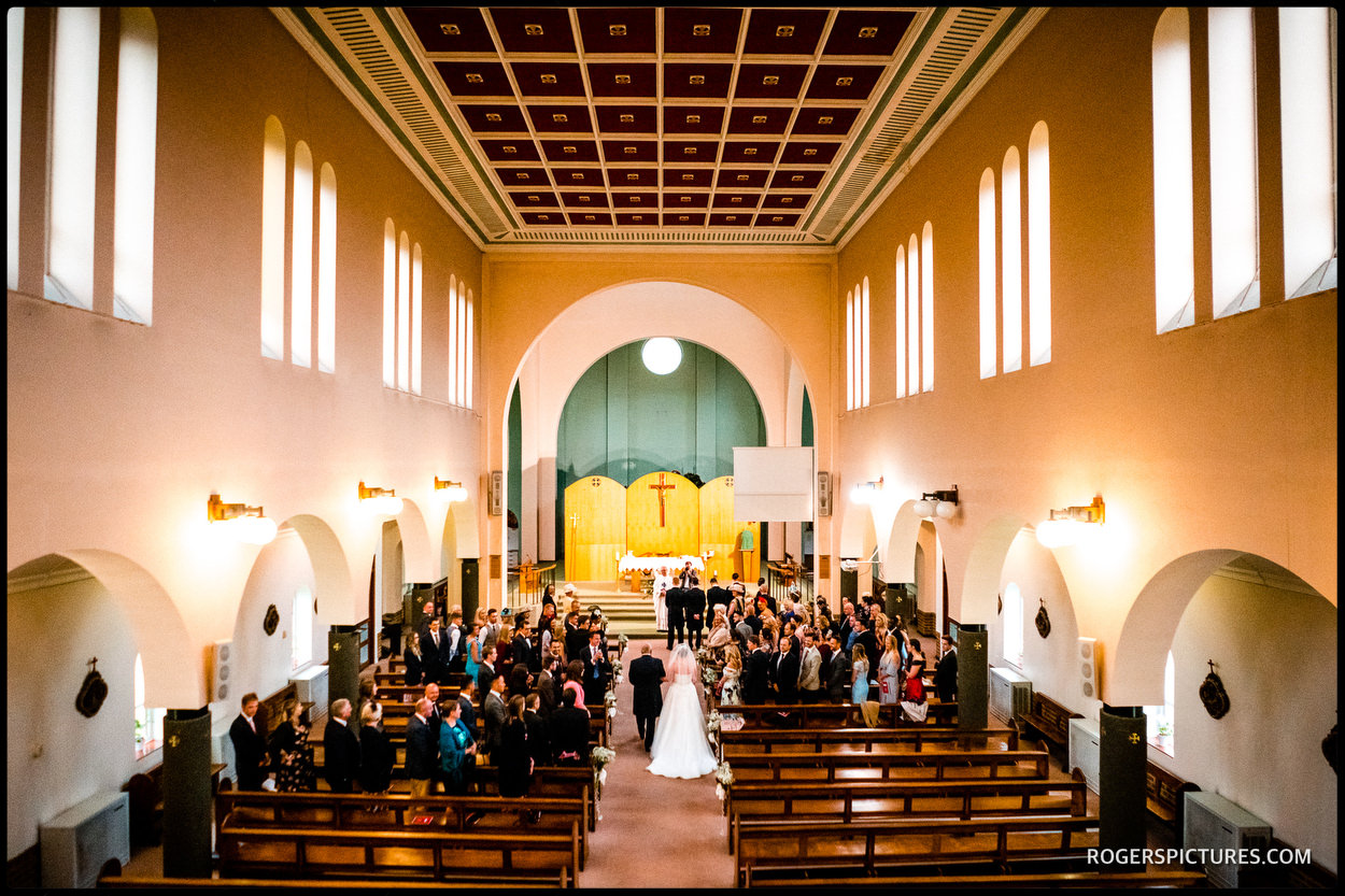 Wedding ceremony at St Anthony's RC church in Slough