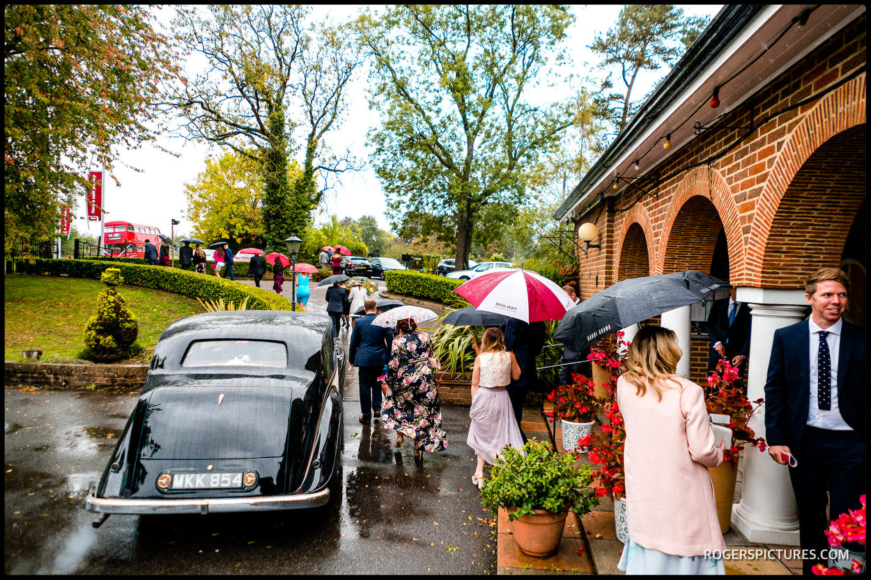 Autumn rain at a wedding in Slough