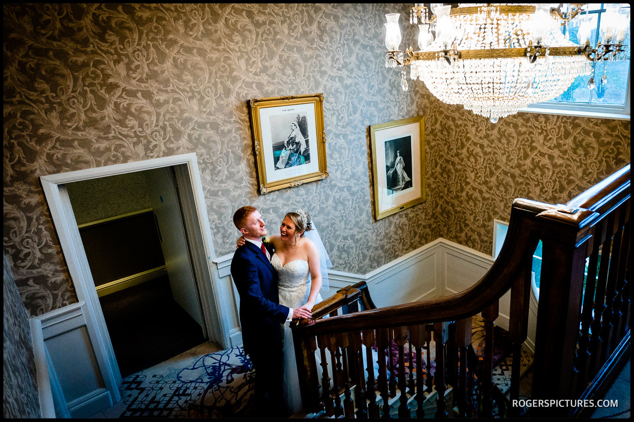 Couple portrait at Stoke Place Hotel in Buckinghamshire