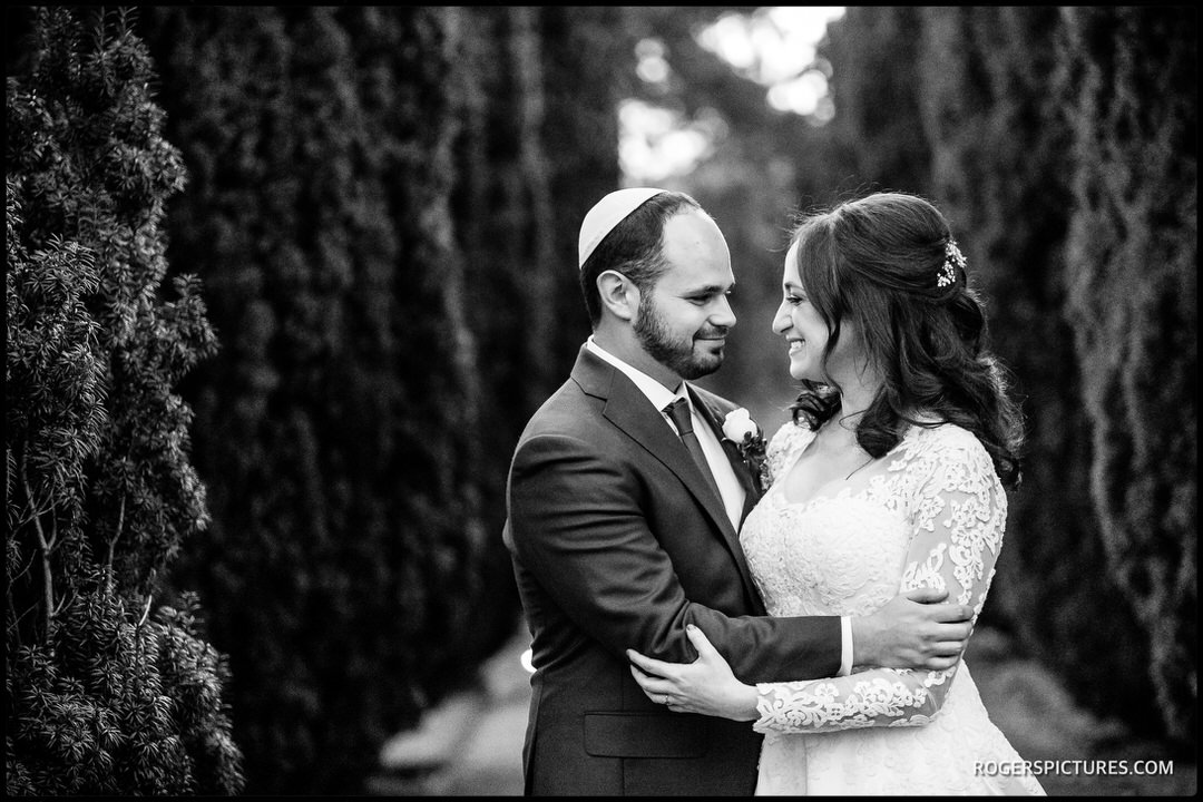 Black and white portrait of bride and Groom at The Grove