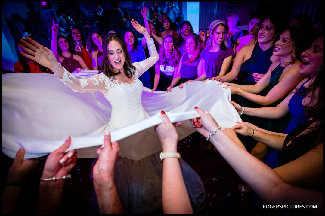 Bride during Israeli dancing