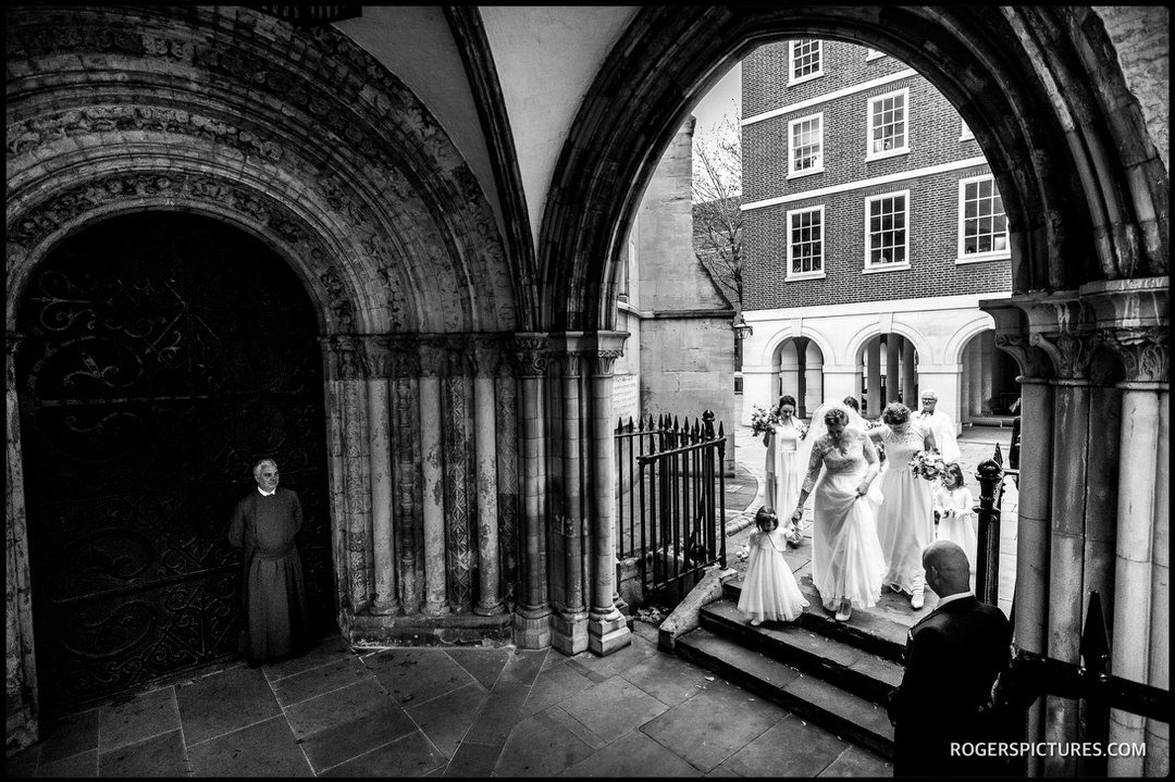 Wedding photo of Bride arriving at Temple Church in London