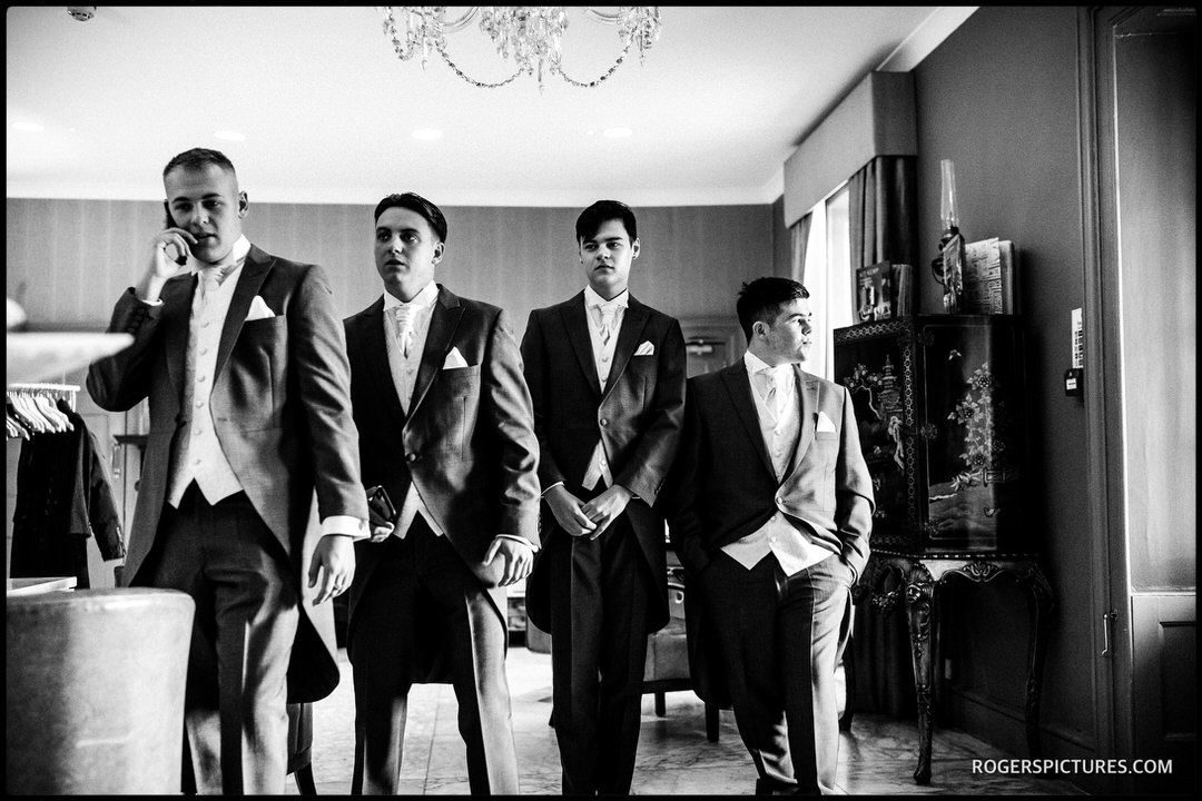 Black and white picture of groomsmen