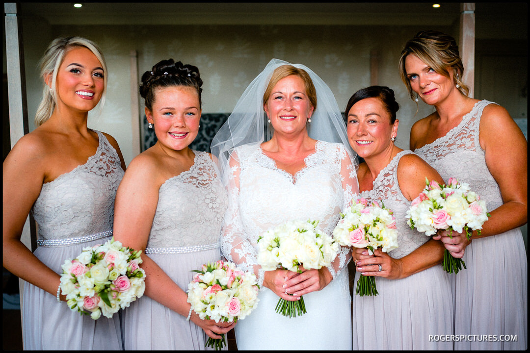 Bride and Bridesmaids at Stoke Place Hotel for a wedding