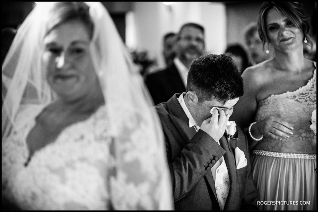 Emotional son at his Mum's Buckinghamshire wedding ceremony