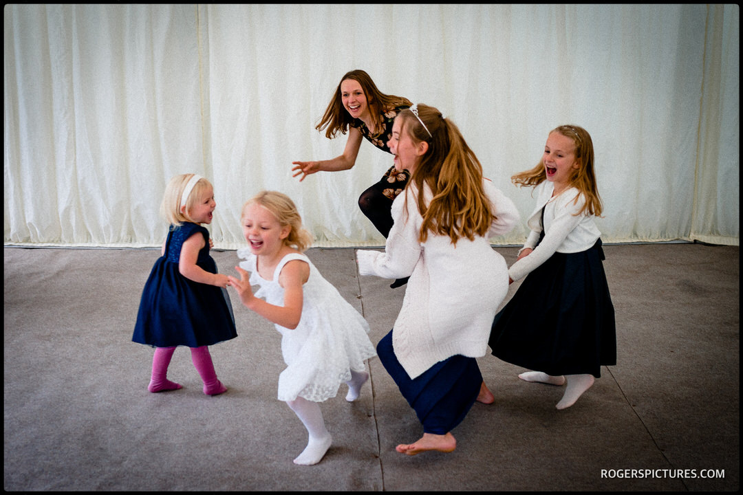 Children playing party games at Widbrook Grange wedding