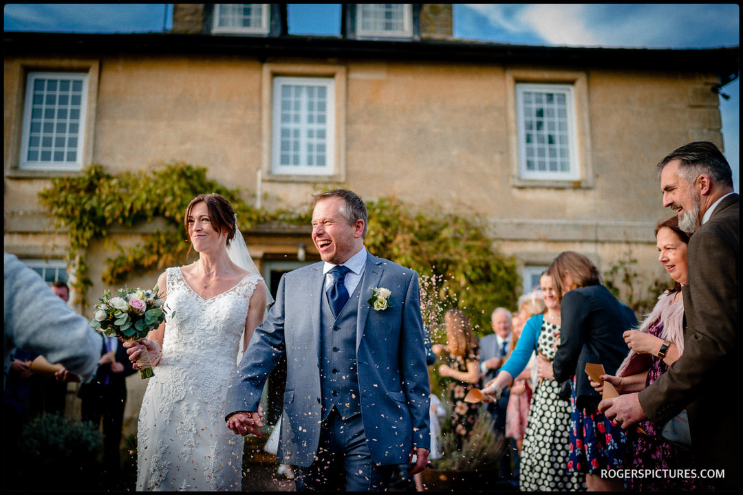 Confetti at Wiltshire wedding venue Widbrook Grange