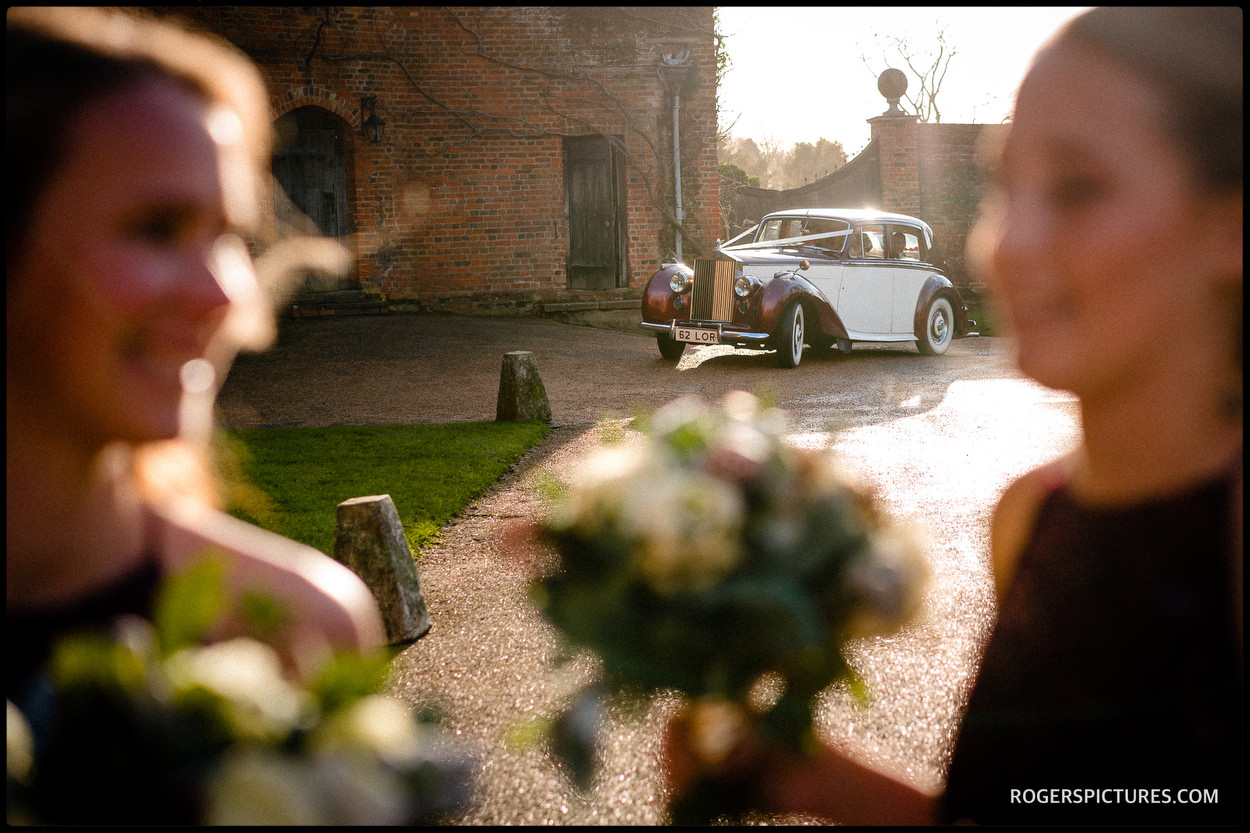 Brides car arrives at Hatfield House