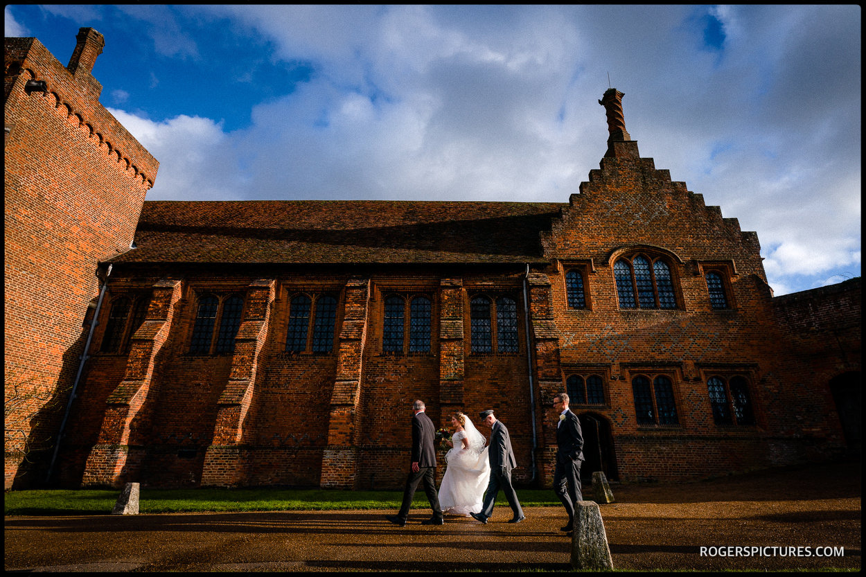 Hatfield House winter wedding bride arriving