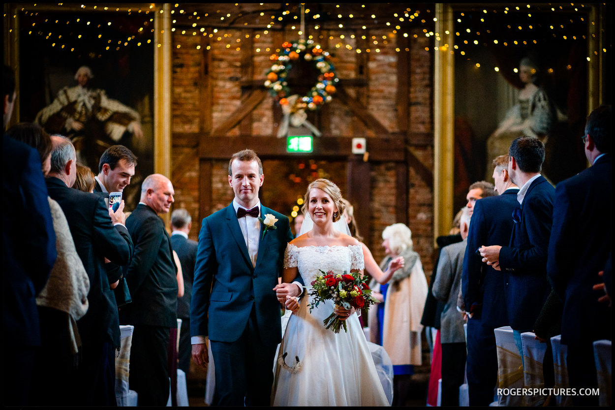 Just married couple at Hatfield House Old Palace