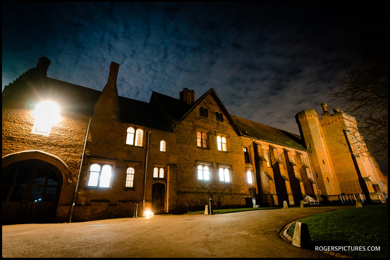 The Old Palace wedding venue at night