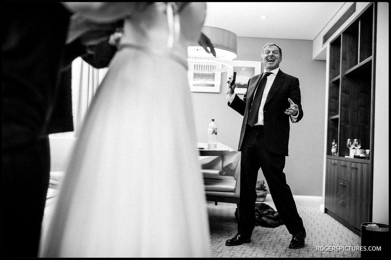 Dad's reaction to seeing his daughter in her wedding dress
