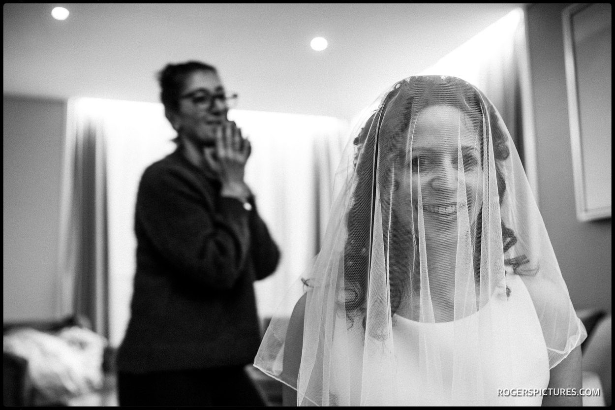 Wedding veil before London wedding