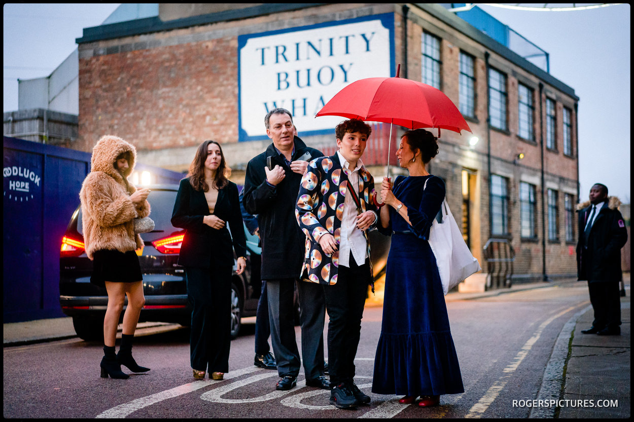 Wedding guests arrive at Trinity Buoy Wharf