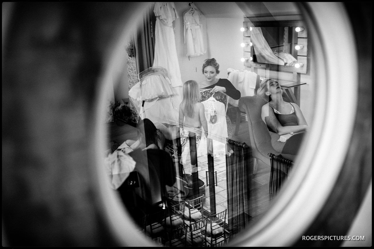 Black and white picture of preparations at Millbridge Court Hotel