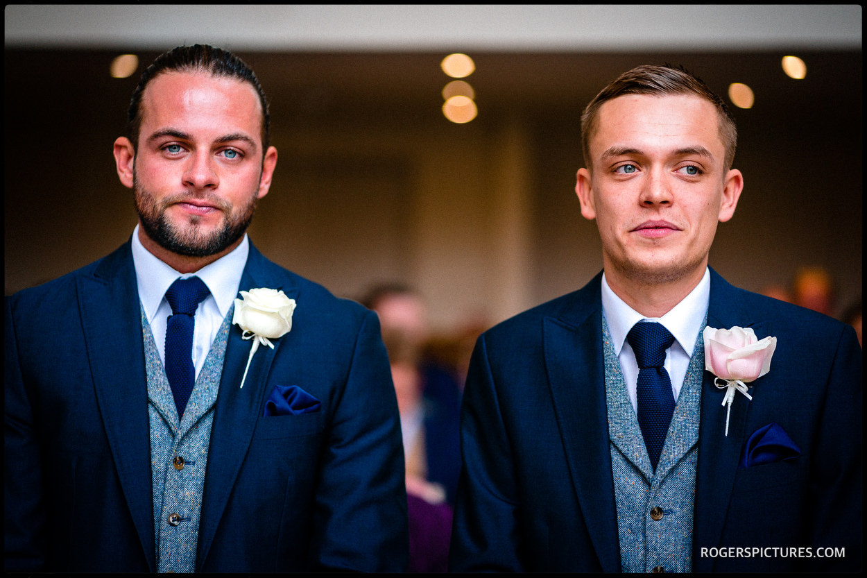 Groom and best man at Millbridge Court Hotel wedding