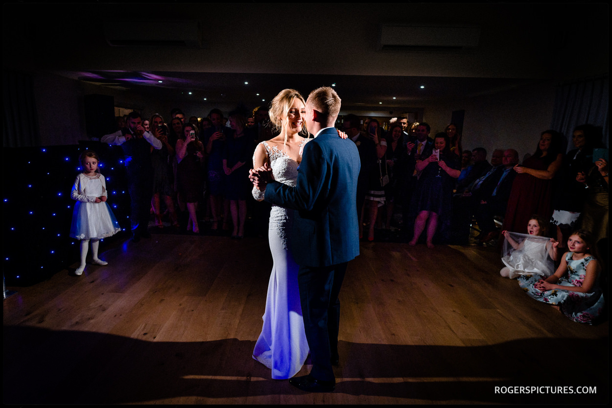 On the dance floor at Millbridge Court Hotel wedding in Surrey